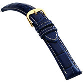 18mm Men's Long Alligator Grain Heavy Padded Crème Stitching Blue Watch Strap