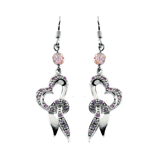 Sterling Silver 26x12.75mm Cherish™ Heart Cubic Zirconia Earrings