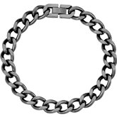 Stainless Steel Oxidized Curb Bracelet or Chain with Box Clasp