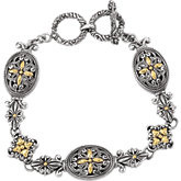 Filigree Design Double Toggle Bracelet with 18KY Accents