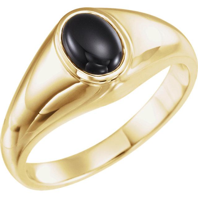 14K Yellow Onyx Ring