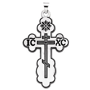 Orthodox Cross Pendant with Black Inlay