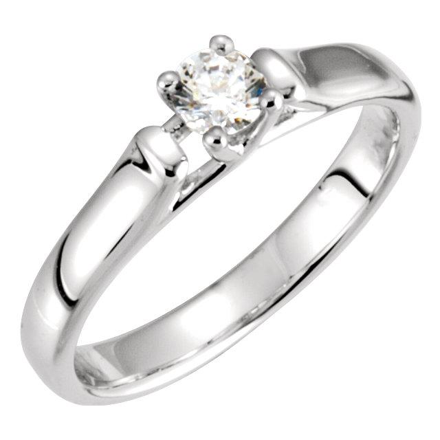 14K White 1/2 CTW Diamond Solitaire Engagement Ring