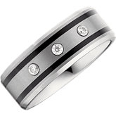 8.3mm Dura Tungsten® 1/10 ct tw Diamond Beveled Band with Black Enamel