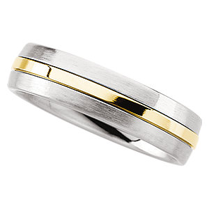 Stainless Steel & 14kt Yellow Inlay 6.3mm Domed Band