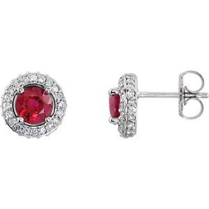 14kt White Ruby & A/  ATW<br> Diamond Earrings