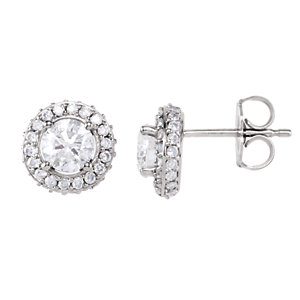 14kt White 1 1/5 ATW<br> Diamond Earrings
