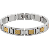 Stainless Steel Bracelet with Gold Foil Inlay