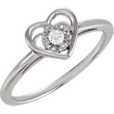 Heart Design Cubic Zirconia Ring