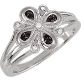 Floral Design Ring with Split Shank