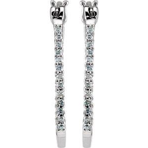 Platinum Inside/Outside Hinged Hoop Earrings