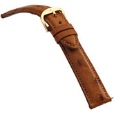 18mm Men's Regular Genuine Ostrich Tan Watch Strap