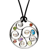 Freshwater Cultured Pearl and Multi-Gemstone Necklace