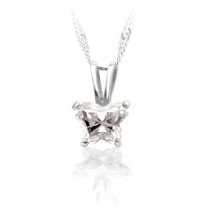 Sterling Silver April Birthstone Pendant