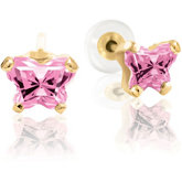 Bfly® CZ Birthstone Youth Earrings with Safety or Threaded Backs