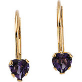 Youth Genuine Amethyst Heart Leverback Earrings