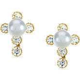 Youth Pearl & CZ Cross Earrings