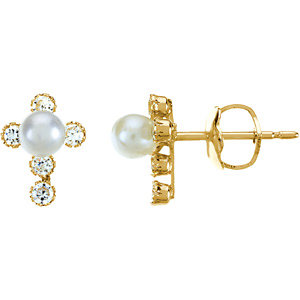 Youth Pearl & Cubic Zirconia Cross Earrings