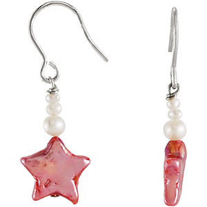 Youth Pink Pearl Star Dangle Earrings