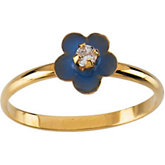 Youth Enamel Flower Ring with CZ