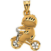 Two Tone Child on Tricycle Pendant