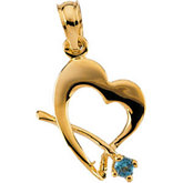 Youth Heart with Genuine Birthstone Pendant