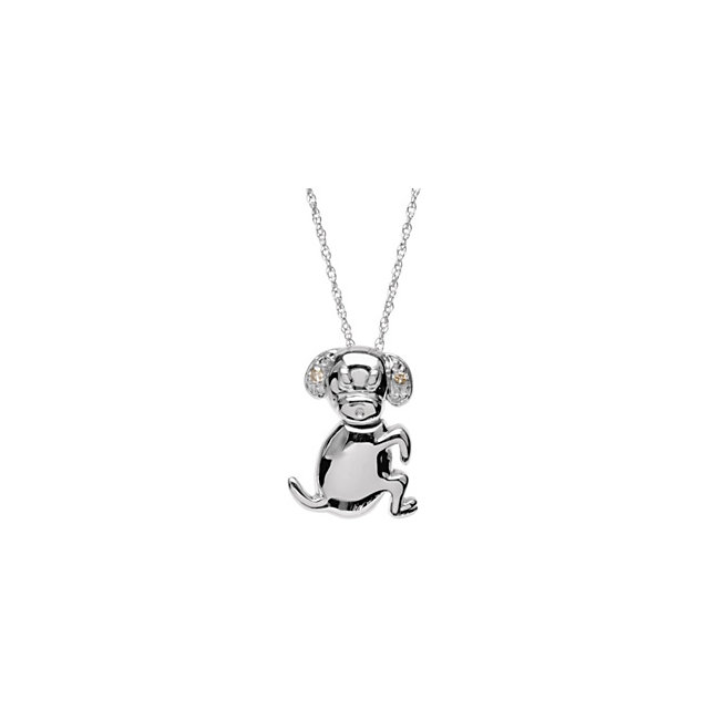 Sterling Silver Diamond Dog Pendant