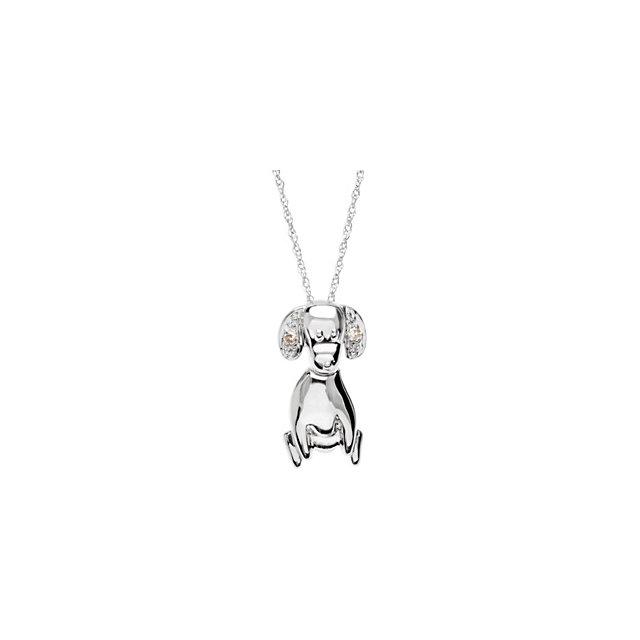 Sterling Silver Diamond Dog Pendant