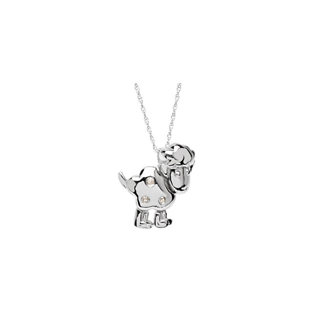 Sterling Silver Diamond Lamb Pendant