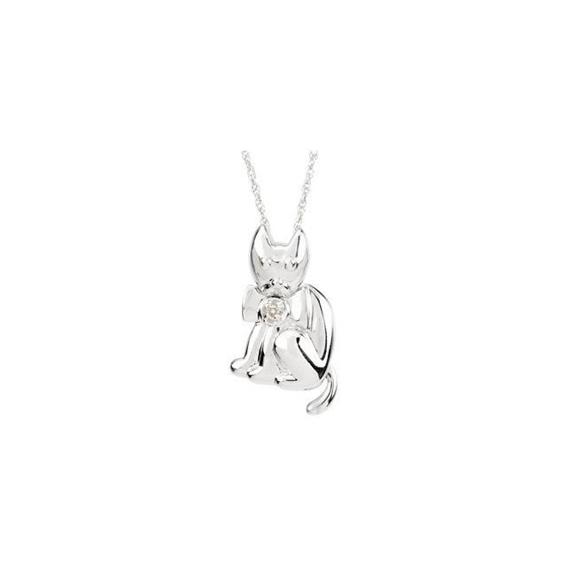 Sterling Silver Diamond Cat Pendant