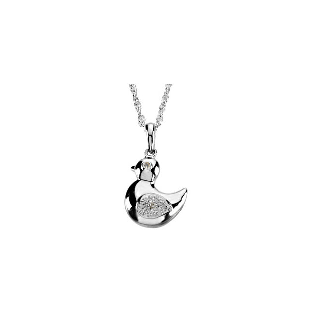 Sterling Silver Diamond Duck Pendant