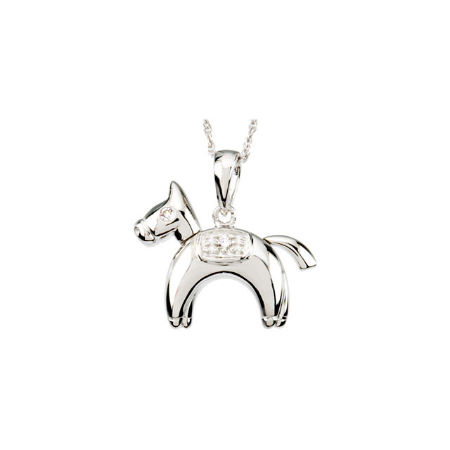 Sterling Silver Diamond Horse Pendant