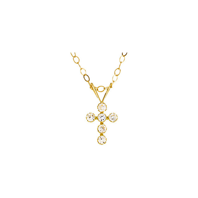 14K Yellow Youth Cubic Zirconia Cross 15