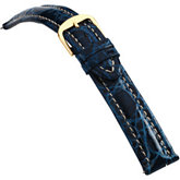 24mm Men's Regular Sport Genuine Crocodile Blue Watch Strap