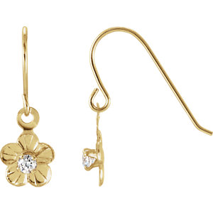 Youth Daisy w/Cz Shepherd Hook Earrings