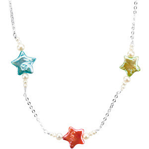 Triple Star & Pearl Petite Necklace