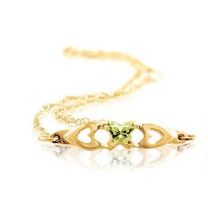 10K Yellow August Birthstone Bracelet