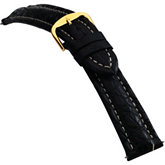 24mm Men's Regular Sport Genuine Crocodile Matte Black Watch Strap