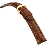18mm Men's Regular Sport Genuine Crocodile Matte Tan Watch Strap