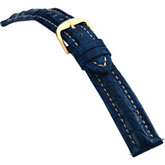 24mm Men's Regular Sport Genuine Crocodile Matte Blue Watch Strap