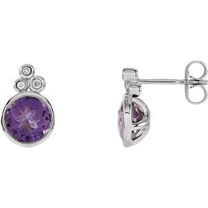 Amethyst & Diamond Accented Earrings