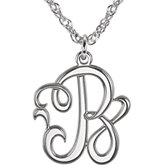 15mm Single Letter Script Monogram Necklace