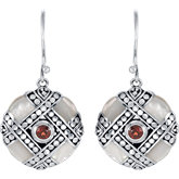 Genuine Mother of Pearl with Mozambique Garnet Earrings