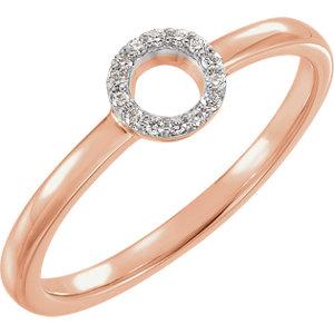 14K Rose .06 CTW Diamond Circle Stackable Ring