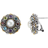 Mabé Cultured Pearl & Multi Gemstone Earrings