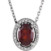 Gemstone & Diamond Halo-Styled Necklace or Slide Pendant Mounting