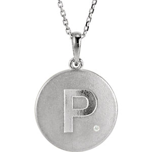 Block Initial Disc Pendant or Necklace