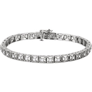 "14K White 1/2 CTW Diamond Fashion Tennis 7"" Bracelet"