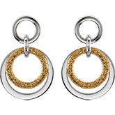 Amalfi™ Stainless Steel Circle Glitter Earrings with Gold Immersion Plate