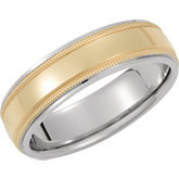 6mm Two Tone Domed Milgrain Band